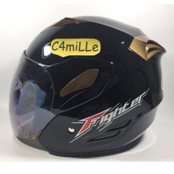 HELM GM FIGHTER SOLID BLACK HALF FACE