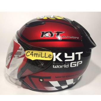 HELM KYT DJ MARU #11 RED MAROON BLACK HALF FACE
