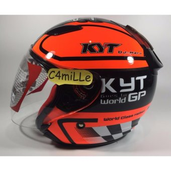 HELM KYT DJ MARU MOTIF #11 BLACK RED FLUO HALF FACE