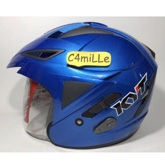 HELM KYT SCORPION KING SOLID BLUE DOUBLE VISOR HALF FACE