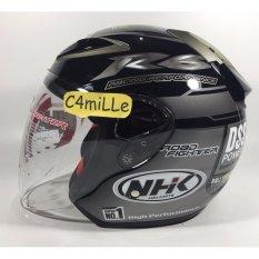 helm nhk r6 rally black silver half face