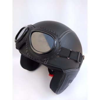 Helm Retro Full Synthetic Leather dewasa / Remaja + Kaca Mata - Hitam