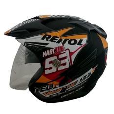 Helmet Double Visor (2 kaca) Marquez Repsol Honda DMN - Hitam Doff
