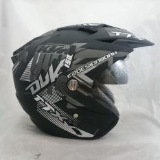 Helmet Double Visor Duke DMN Black Doff Abu Murah