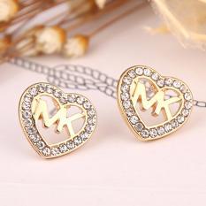Hequ Fashion Wanita Berkualitas Tinggi Emas Berlapis Perak Perhiasan Anting Tindik Telinga Daun Rumbai Kristal Emas