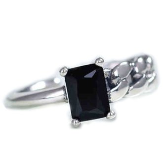 Hequ Korea Personalized Custom Black Onyx Ring 925 Sterling Silver Chain Irregular Asymmetric Retro Thai Silver Opening Ring Black - intl