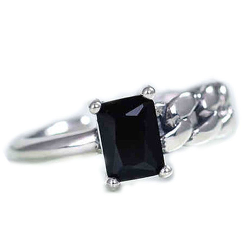 Hequ Korea Personalized Custom Black Onyx Ring 925 Sterling Silver Chain Irregular Asymmetric .