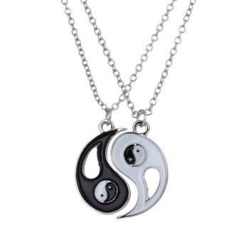 Hequ New Chinese Mystical Yin Yang Pendant Necklace Stainless Steel Necklaces Couple Necklace - intl