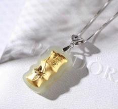 Hetian Jade Inlaid Alami Emas Pendant Dengan Soaring Sertifikat Dikirim Silver Chain Zodiac Babi