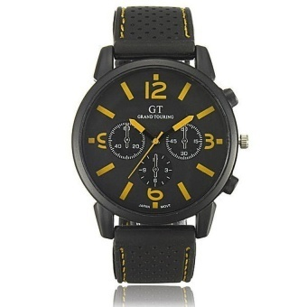 HommeAnalogue Acier Inoxydable Sports Montre Bracelet Wrist Watch Cadeau Yellow - intl