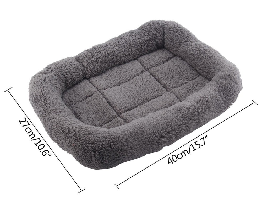huazhong Pet Indoor Padded Bolster House Bed Sleeping Cushion PetFleece Crate Bed 15.7x10.7x2.5 Inch For Cats And Small Dogs - intl