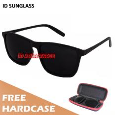 ID Sunglass - Kacamata Wayfarer D-Frame Pria Wanita - Frame Hitam - Lensa Hitam SUN 1004-01