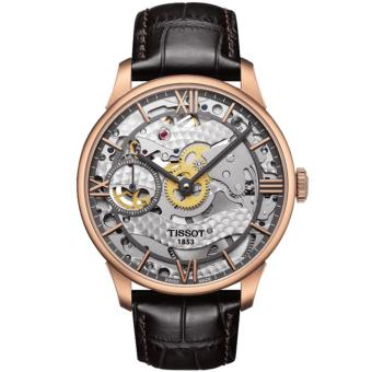 Harga Tissot Original T-Classic Chemin Des Tourelles Squelette Mechanical T099.405.36.418.00 Jam Tangan Pria - Brown/Rose Gold