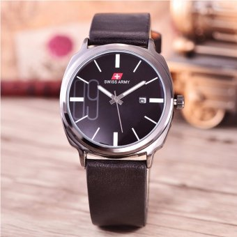 Swiss Army - Jam Tangan Pria - Body Black - Black Dial - Black Leather -