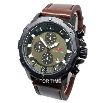 Swiss Army - SA6630M - Jam Tangan Pria Chrono - Strap Kulit -coklat tua hitam