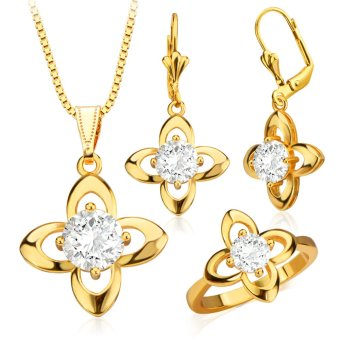 Harga Trendy Jewelry Set Women 18K Gold Plated Luxury Crystal Necklace Earrings Ring Jewelry Sets S20054