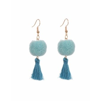 Harga LRC Anting Blue Fuzzy Ball&tassel Decorated Simple Earrings