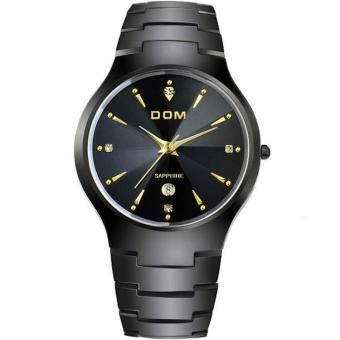 Harga nonof DOM (DOM) tungsten steel watches watch bijou trend Couples table table fashion thin quartz waterproof brilliant calendar couple watches a couple of tables a to (1 X men Watch) (Black)