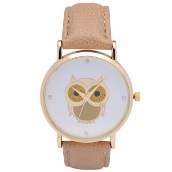 Harga Santorini Jam Tangan Wanita Owl Fashion Casual Analog Leather Women Lady Watch - Beige