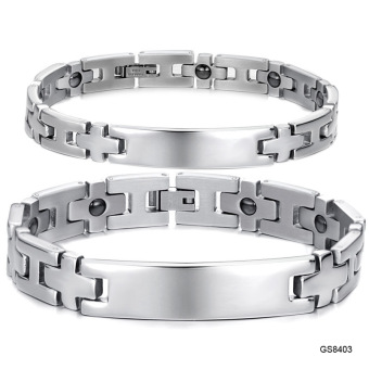 Harga Jewelry Bracelet Healthy Stainless Steel Couple Bracelets Magnet Stone Cross Design Chain Link Men Jewellry - Intl