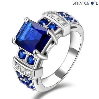Harga Cincin Import Blue Sapphire 18K White Gold Filled Mans Ring