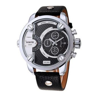 Harga North Two Time Movements Quartz Wrist Watch Leather Sports Mens Watch Black - intl