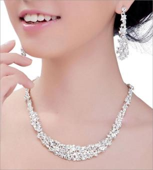 Harga leegoal Rhinestone Crystal Bridal Jewelry Sets Necklace Earrings Classic Jewelry, Silver White - intl