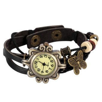 Harga Female Roman Braid Weave Bracelet Quartz Decoration Wristwatch Black - intl