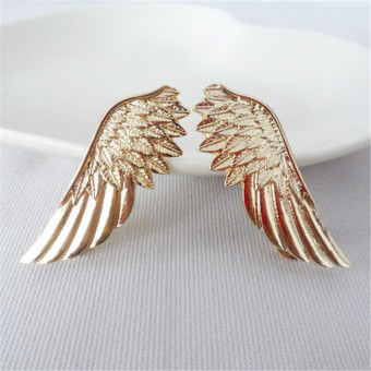 Amango 2pcs Hot Fashion Punk Wings Style Collar Brooches Pins for Women Jewelry Gift Gold