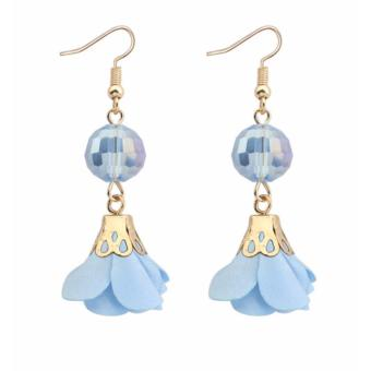 ... &flower Decorated Simple Design Source · LRC Anting Fashion Light Blue Flower & beads Decorated Pure Color Simple Earrings