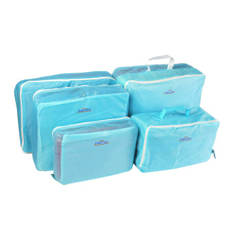 5Pcs Packing Cube Pouch Travel Home Clothes Suitcase Storage Bags Luggage Organizer Bag Case-Blue