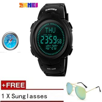 Harga [100% Genuine] 2017 SKMEI 1231 Outdoor Sports Compass Watches Hiking Men Watch Digital LED Electronic Watch Man Sports Watches Chronograph Men Clock 【buy 1 get 1 sunglasses】 - intl