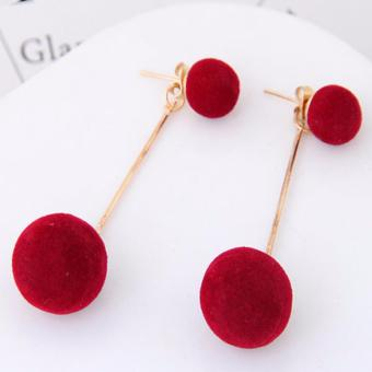 Harga LRC Anting Wanita Sweet Red Double Fuzzy Balls Pendant Decorated Pure Color Simple Earrings