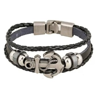 Harga Santorini Gelang Pria Wanita Anchor Steel Studded Leather Men Women Bracelet