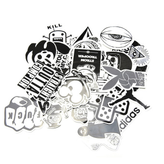 Harga 60Pcs/Set Sticker Car Decor Accessory Black White Stickerbomb Case Decals Decor - intl