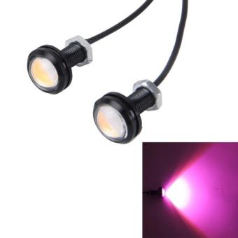 Harga 2 PCS 2x 3W Waterproof Eagle Eye Light LED Light For Vehicles, Cable Length: 60cm(Pink Light) - intl