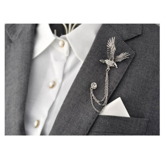 Harga LYBALL Men's Suit Shirt Crystal Rhinestone Corsage Lapel Pin Eagle Brooch Chain Silver