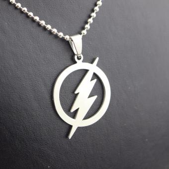 Harga Hequ FLASH DC SUPER HERO FLASH Logo petir rantai kalung Liontin Stainless Steel - ต่าง ประเทศ