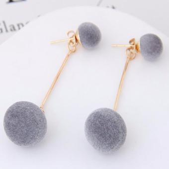 Harga LRC Anting Tusuk Sweet Gray Double Fuzzy Balls Pendant Decorated Pure Color Simple Earrings
