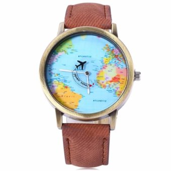 Harga Santorini Jam Tangan Pria Wanita World Map Fashion Quartz Leather Men Lady Watch - Brown