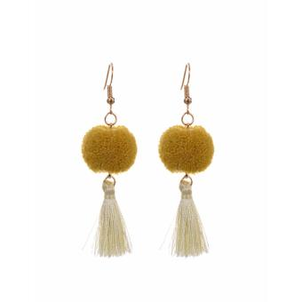 Harga LRC Anting Wanita Yellow Fuzzy Ball&tassel Decorated Simple Earrings