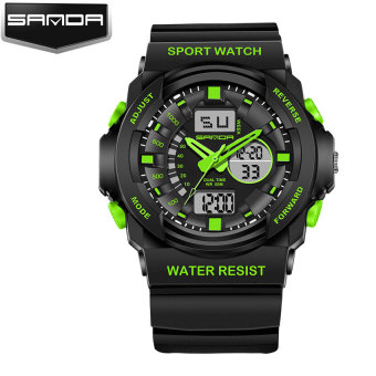 Harga SANDA Men s' Outdoor Sport Multifunctional Dual Time Display Shockproof Waterproof Electronic Watch (green)