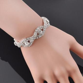 Harga Santorini Wanita Gelang Fashion Crystal Bracelet Women Rhinestone Bangle - Silver
