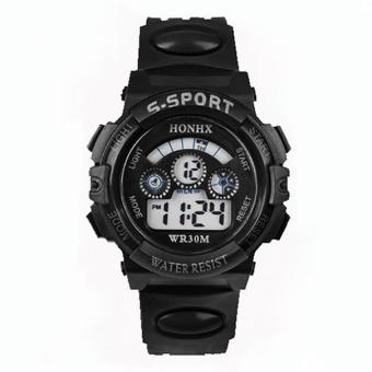 Harga BUYINCOINS Waterproof Kids Boys Sports Multifunction Electronic LED Alarm Date Wrist Watch - intl