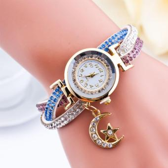 Harga Santorini Jam Tangan Wanita Moon Star Fashion Diamond Analog Style Faux Leather Bracelet Watch - White