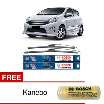 "Harga Bosch Sepasang Wiper Mobil Toyota Agya Frameless New Clear Advantage 20"" & 14"" - 2 Buah/Set - Free Kanebo Bosch"