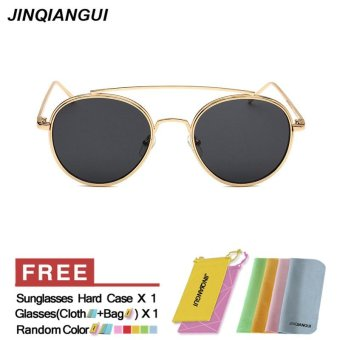 JINQIANGUI Sunglasses Men Round Retro Titanium Frame Sun Glasses Grey Color  Eyewear Brand Designer UV400 - 36cbbd8040