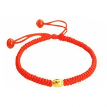Harga Trendy Hand Braided Red One Lucky Bead String Rope Cord Bracelets Handmade 14KGold Plated Adjustable Gifts