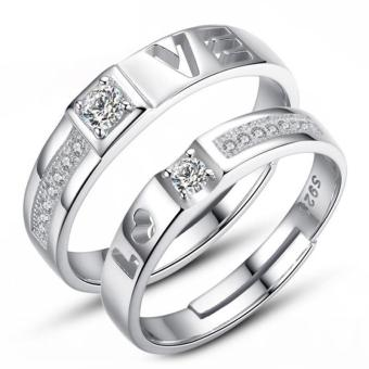 Harga Couple Rings Jewellry 925 Silver Adjustable Lovers Ring Jewelry E027 - intl