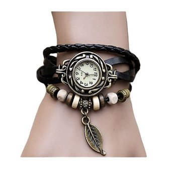 Harga Santorini Jam Tangan Wanita Fashion Leather Strap Leaf Style Women Watch - Black